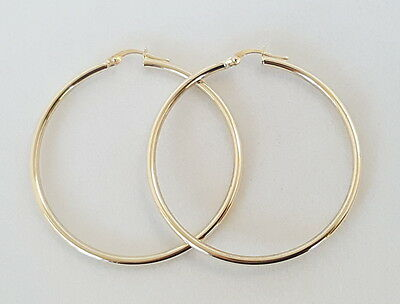 9CT YELLOW GOLD ITALIAN LARGE ROUND HOOP EARRINGS - 45.5mm Long *Gorgeous Hoops*