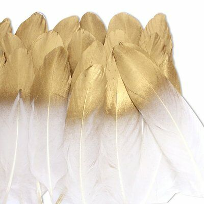 36PCS Gold Dipped Natural White Feathers for Various Crafts