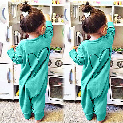 Newborn Infant Kids Baby Boys Girl Printed Romper Heart Jumpsuit Outfits Clothes