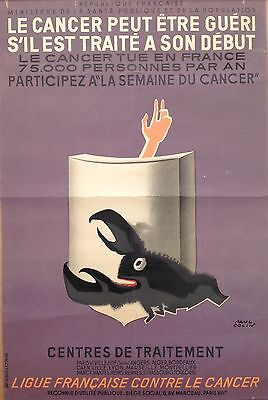 Affiche Ancienne Paul Colin Lithographie Ligue Contre Le Cancer  1950