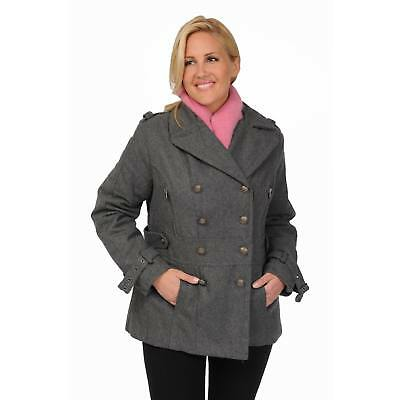 Excelled Women's Plus Size Wool Blend Double Breasted Peacoat with Waist Tab