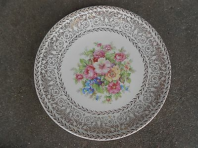 "Edwin M Knowles 8"" Floral Salad Plate 22K Gold USA 52-11"