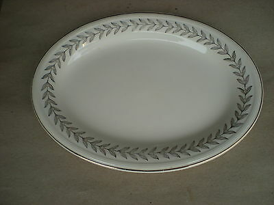 Edwin Knowles Oval Platter w Gold Leaf Design 14K Semi Vitreous  USA