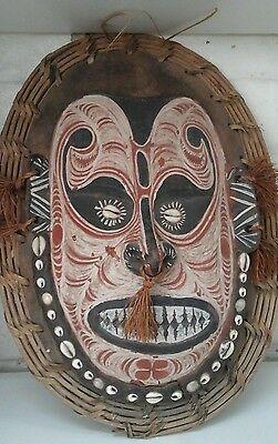 Pg Tribal Mask Carved Timber Ochre Painted Sepik Woven Cane Cowrie Shell