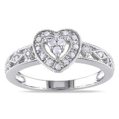 Miadora Sterling Silver 1/6ct TDW Diamond Heart Ring