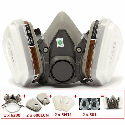 For 3M 6200 6001 Half Face Dust Gas Mask Respirator Safety Painting Spraying