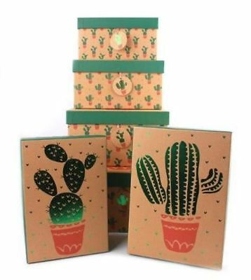 Set of 6 Cactus Design Gift Boxes 6 Different Sizes