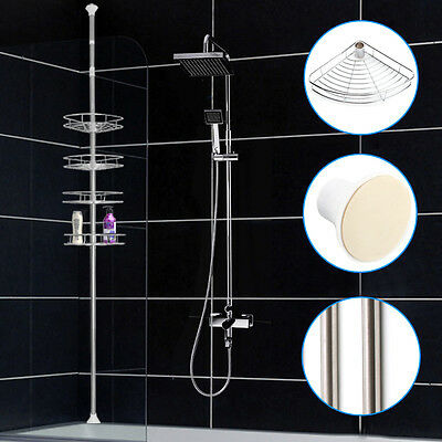 Metal Corner Shower Bathroom Basket Caddy Shelf Rack Storage Shelves Organiser