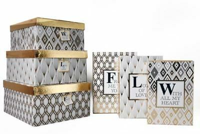 Set of 6 Gold Foil Design & Sentiment Gift Boxes 6 Different Sizes