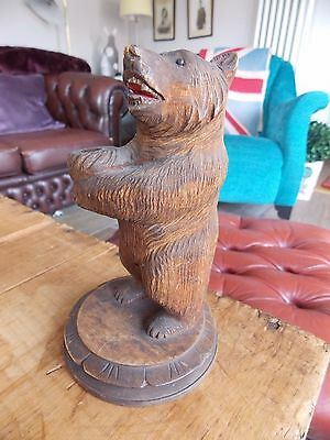 "Antique Turn of the Century Carved Wood Wooden Black Forest Bear. 6"" tall."