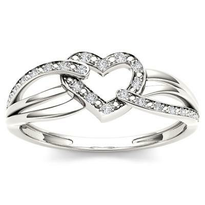 De Couer Sterling Silver 1/20ct TDW Diamond Heart Fashion Ring