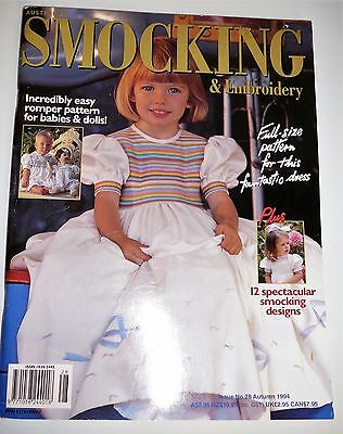 Australian Smocking & Embroidery Issue No. 28 Autumn 1994 Doll Patterns Sewing