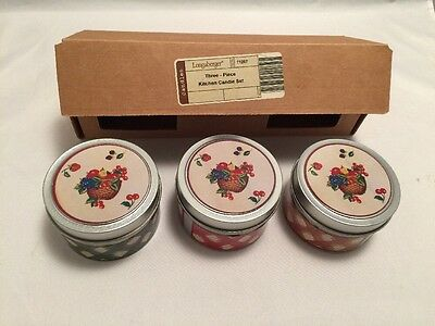 New Longaberger 3 Piece Kitchen Candle Set 71267 Retired