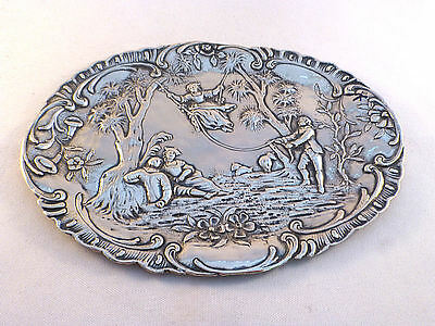 """Figural Vintage 800 Sterling Silver Tray 7 3/8"""" x 5 5/8"""""""