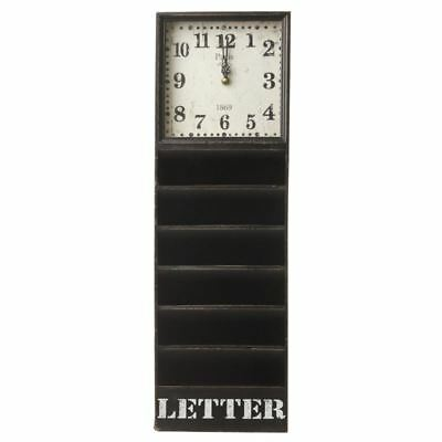 Wall Hanging Letter Rack with Vintage Look Square Clock Unit by Heaven Sends