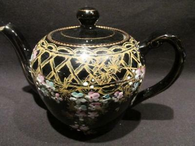 HJW No 646 Beautiful Vintage Hand Painted Black Teapot made in England