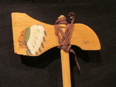 Tomahawk Soft Wood Vintage Hand Painted Toy with Chief in Headdress on Blade