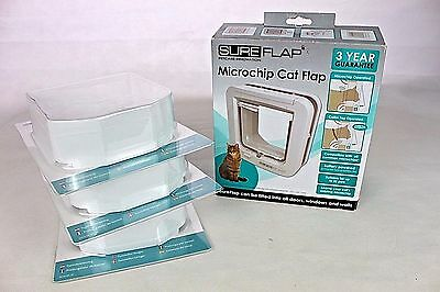 GENUINE Sureflap Microchip Pet door Cat flap FOR WALLS -  WHITE + 3 Extender