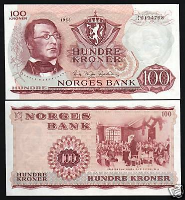 Norway 100 Kr.p38B 1968 Constitution Unc Rare Date Note