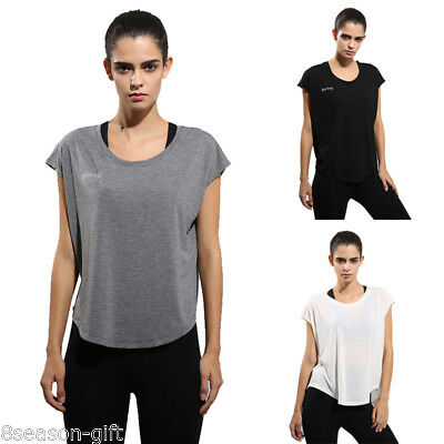 Womens Sports Yoga T-shirt Casual Fitness Gym Workout Jogging Tops Blouse GIFT