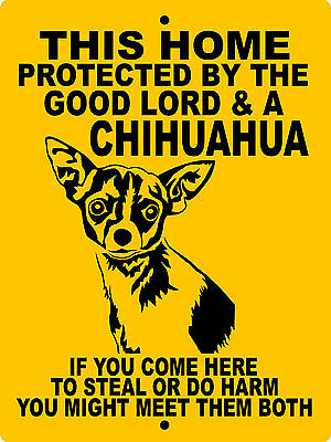 "CHIHUAHUA  DOG SIGN, 9""x12"" ALUMINUM,WARNING,SECURITY,Guard Dog Sign,GLCHHCY"