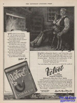1914 Velvet Pipe Tobacco Joe Kentucky Farmer Fireplace Blood Hound Dog Art Ad