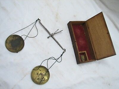 Early Apothecary Gold Scale Compact Portable Brass & Iron Tool Wood Box Pharmacy