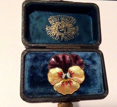 Beautiful silver and enamel Pansy brooch. Norway.  BALLE