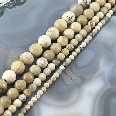 "Wholesale White Natural African Opal Faceted Round Spacer Beads15"" 3 5 8 10 12mm"