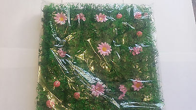 Fairy Garden Grass Fairy Garden Accessory With Flowers And Mushrooms Pink