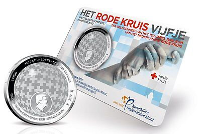 """2017 Netherlands 5 Euro Silver-Plated UNC Coin """"Dutch Red Cross 150 Years"""""""