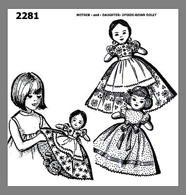 Vintage Mail Order Mother & Daughter Upside Down Dolly  sewing pattern # 2281