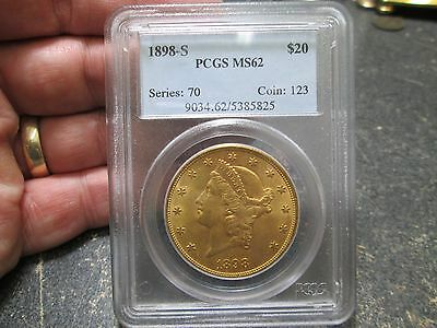 1898 S 20 Dollar Liberty Gold Coin In Pcgs Ms 62 Uncirculated Condition