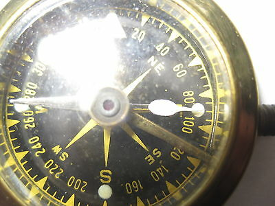 Vintage Military Wrist Compass, Brass, JAPAN, Leather Band, WORKS!