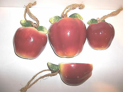 Set of 4 Ceramic Decorative Wall Hanging Measuring Apple Cups