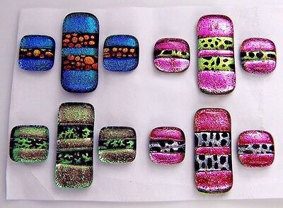 4 Matching Pairs Earrings Pendant (J18) Fused Dichroic Glass Cab