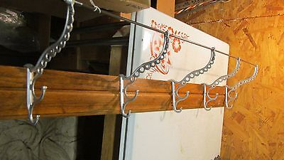 "Antique Oak & Cast Iron Hooks Coat & Hat Rack  38""  No. 1"