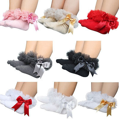 Infant Baby Girl Lace Ruffle Frilly Low Ankle Mesh Bowknot Soft Cotton Socks