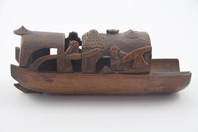 Antique Asian Carved Bamboo Brush Pot Detailed Carving of fishing Boat Junk Boat