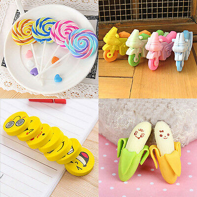 1-12Pcs Students Rubber Pencil Eraser kids School Office Stationery Gift Eraser
