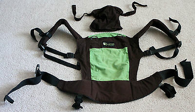 BOBA Carrier Baby Carrier Brown/Green w/ Hood Accessory