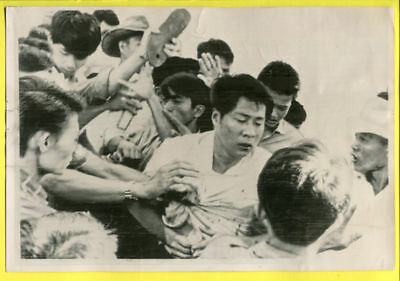 1964 Vietnam Buddhist Official Mobbed by Catholics Original Press Wirephoto