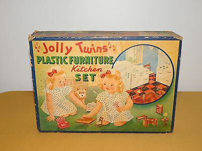 Vintage Toy Jolly Twins Plastic Furniture Kitchen Set Box Only Nothing Inside