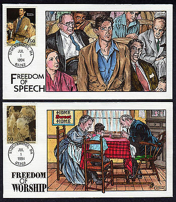 1994 ROCKWELL'S FOUR FREEDOMS Collins Hand Painted Set Of 4 Different FDC's X285