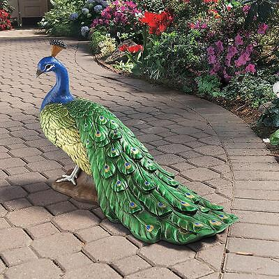 European Elegance Peacock Large Home Garden Sculpture