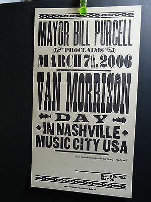 2006 Mayor Proclaims Van Morrison Day in Nashville Music City USA Hatch Poster