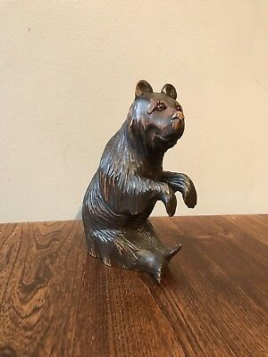 Antique black forest carved wooden bear