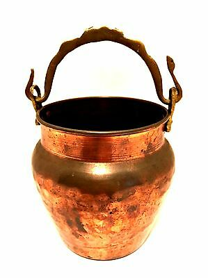 Vintage Solid Copper Pot Brass Snake Handle Hammered Made in Turkey 6 inches