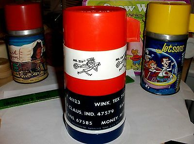 Mr Zip Code`1969`US Mail,Aladdin-Plastic Lunchbox-Thermos->Very Nice->Free To US
