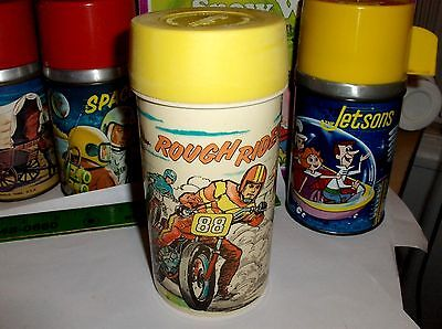 Rough Rider`1973`Motor Bikes`Aladdin Ind-Metal Lunch Box->Thermos->Free To US